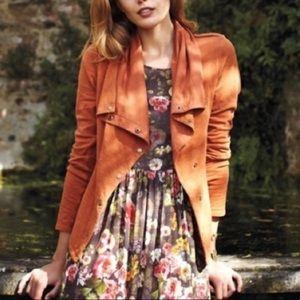 Anthropologie Sat/Sun Orange Knit Moto Jacket
